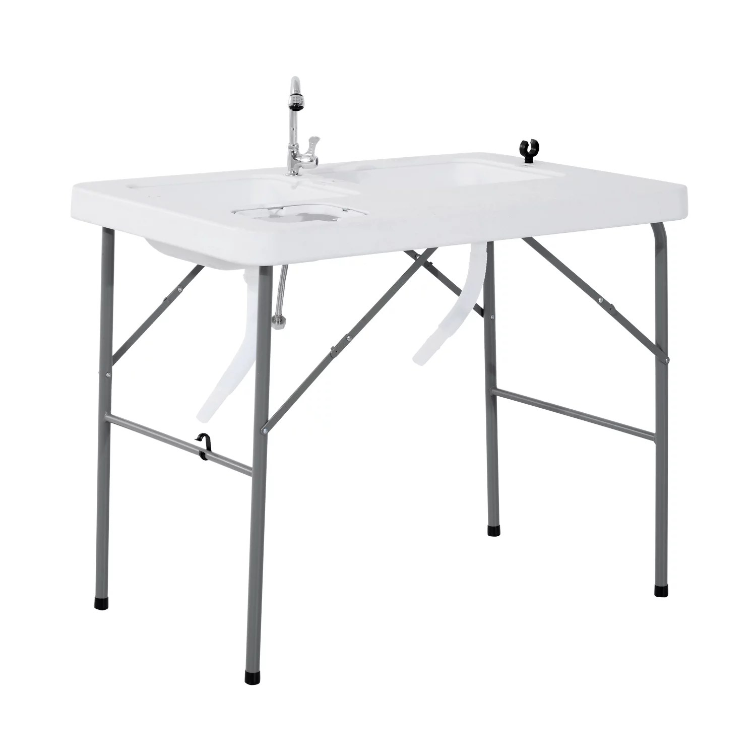 Outsunny Portable Folding Camping Sink Table With Faucet And Dual Water Basins Outdoor Fish Table Sink 40 Walmart Com Walmart Com