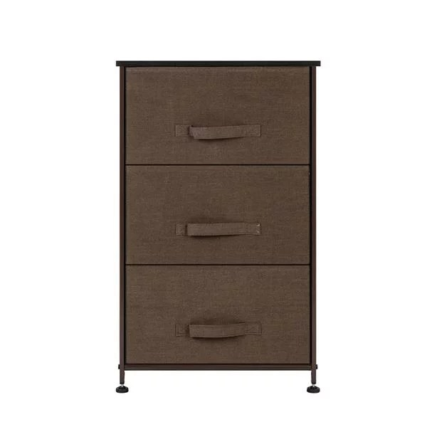 3 tier dresser drawer storage unit with 3 easy pull fabric drawers and metal frame wooden tabletop for closets nursery dorm room hallway brown
