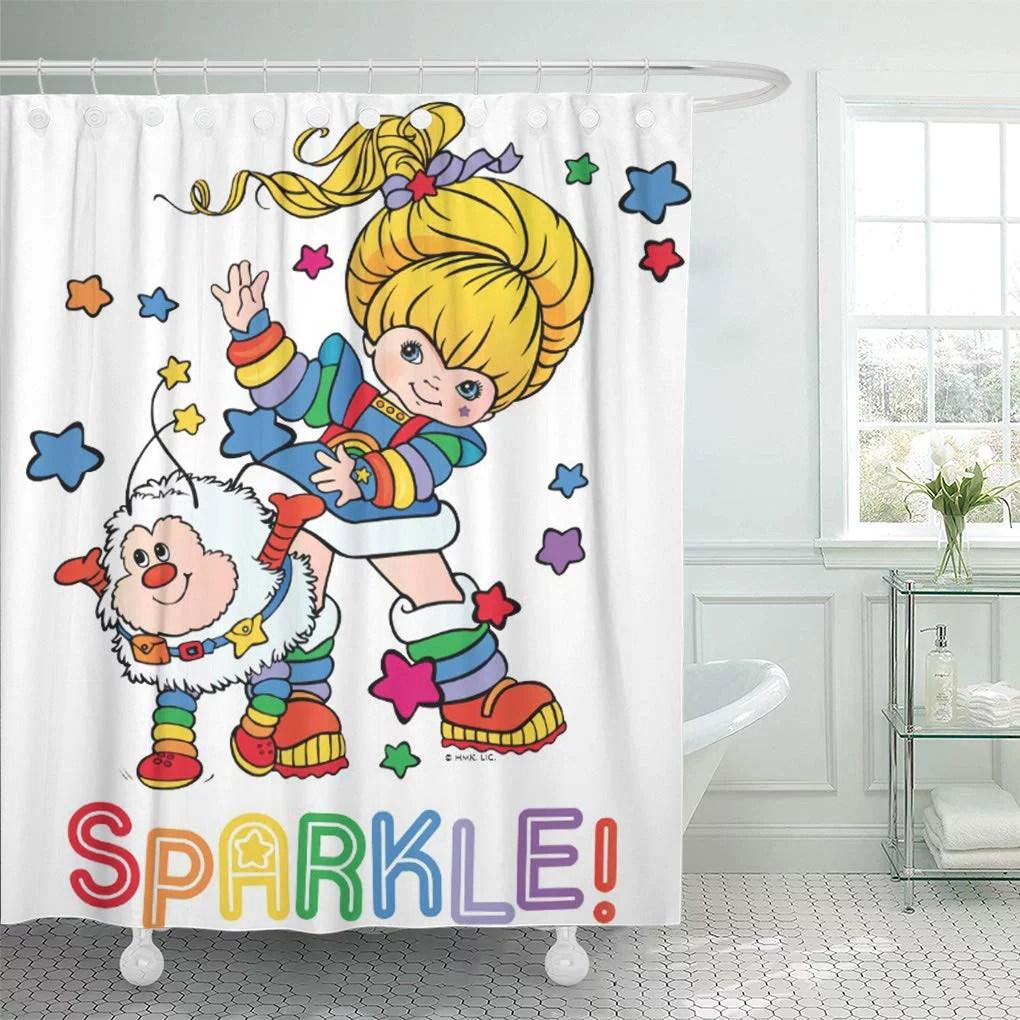 cynlon colorful sprite classic rainbow brite and twink sparkle 80s bathroom decor bath shower curtain 60x72 inch