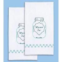 "Stamped White Decorative Hand Towel Pair 17""X28""-Mason Jar ..."