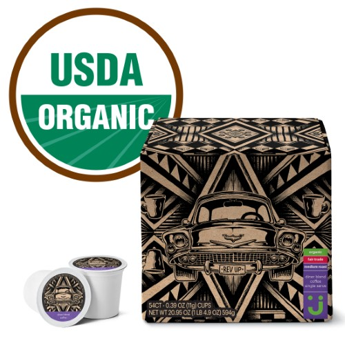 Uniquely J Fair Trade and Organic Diner Blend Coffee Pods, Medium Roast, 54 Count for Keurig & K-Cup Compatible Brewers