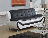 Frady Black and White Faux Leather Modern Living Room Sofa ...