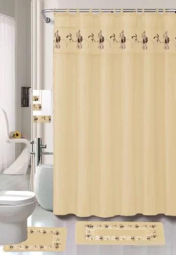 22 piece bath accessory set beige gold bath rug set shower curtain accessories