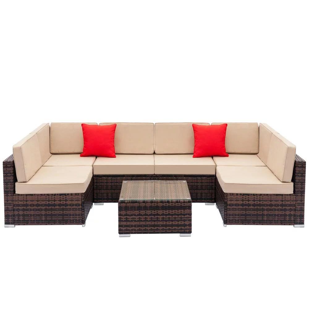 ubesgoo 7pc furniture sectional pe rattan wicker patio rattan sofa set couch