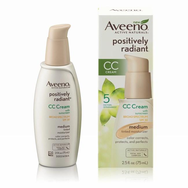 Aveeno Positively Radiant CC Cream Broad Spectrum Spf 30 Medium, Skin Color Correction, 2.5 Oz