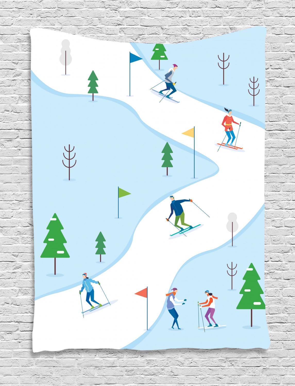 Ski Pattern Tapestry Digital Design Winter Sports Track