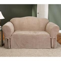 Faux Suede Sofa Slipcover Futons Bed Weymouth Surefit Soft Couch / - Taupe ...