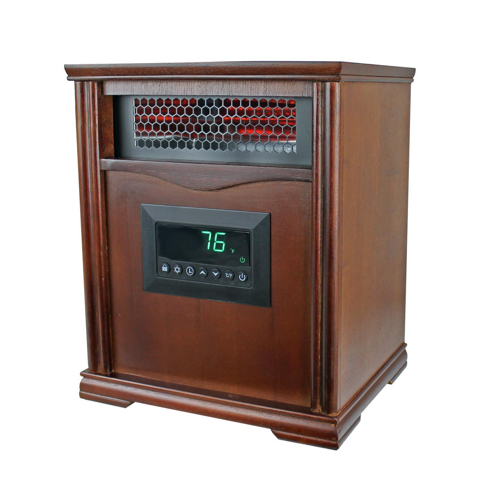 hight resolution of lifesmart lifepro dark oak 1500 watt infrared electric portable space heater walmart com