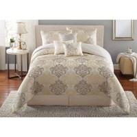 Mainstays 7-Piece Damask Bedding Comforter Set - Walmart.com