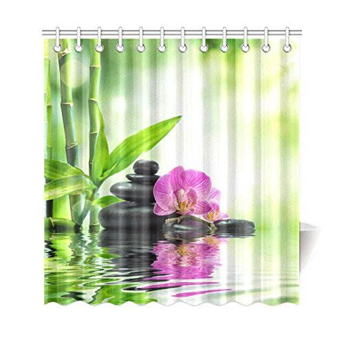 artjia japanese zen garden shower curtain spa stone purple orchids bamboo water polyester fabric shower curtain bathroom sets 66x72 inches