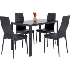 Black Dining Table And Chairs Hydraulic Salon Chair Repair Best Choice Products 5 Piece Kitchen Set W Glass Top 4 Leather Dinette Walmart Com