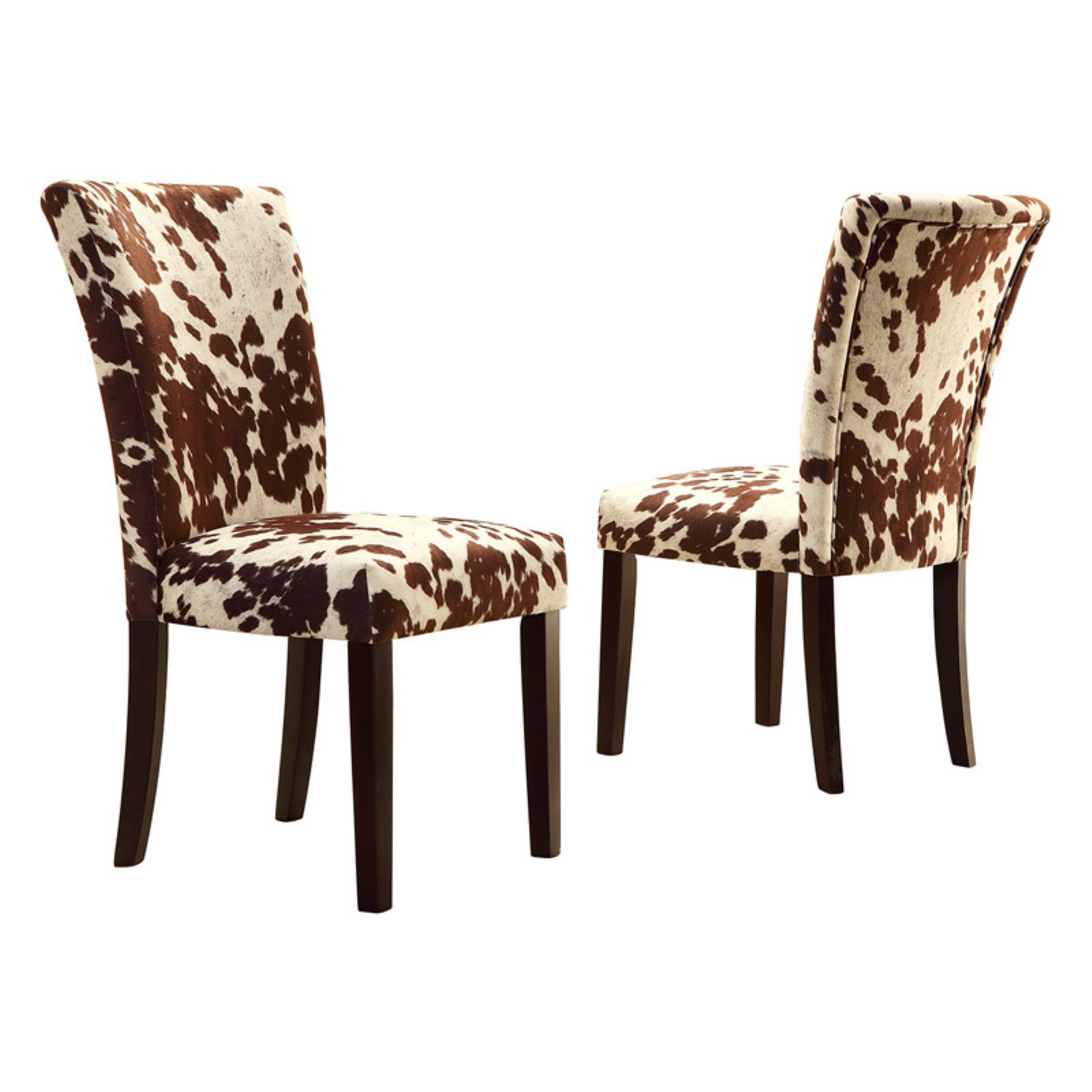 Cow Hide Chair Weston Home Royal Cow Hide Fabric Parson Chairs Espresso Set Of 2