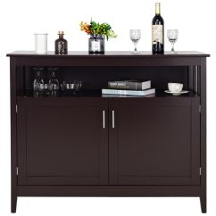 Kitchen Server How Much Does A Remodel Cost Costway Modern Storage Cabinet Buffet Table Sideboard Dining Wood Brown Walmart Com