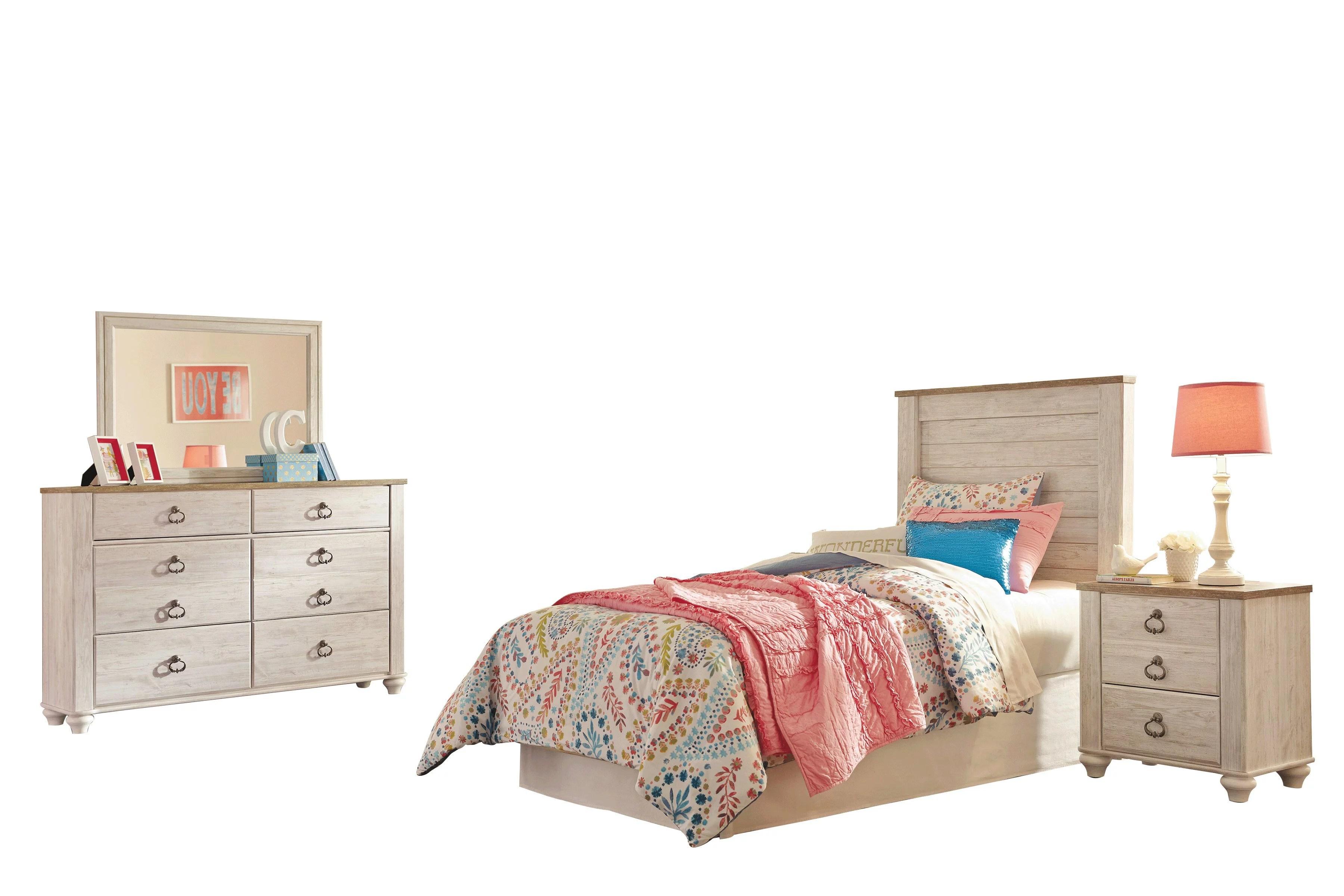 Ashley Furniture Willowton 4 Pc Full Panel Bedroom Set White Walmart Com Walmart Com