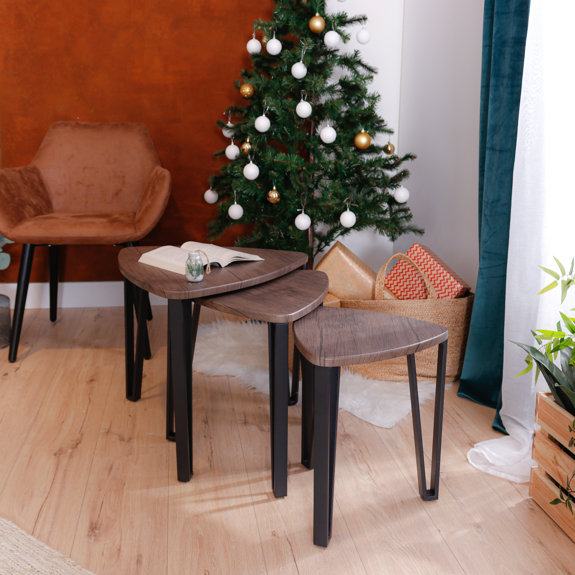 furniturer stacking side table set of 3 nesting triangle end coffee tables vintage brown walmart com walmart com