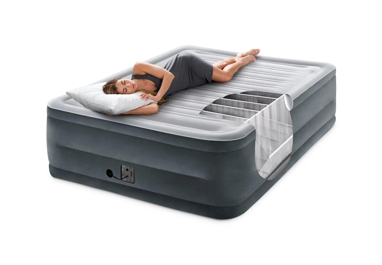 intex 22 queen comfort plush high rise durabeam airbed mattress with built in pump