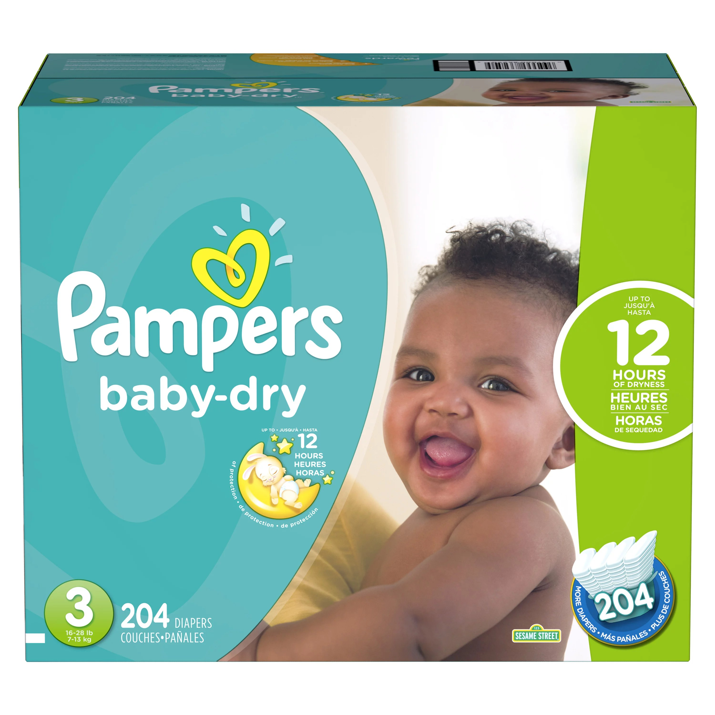 Pampers Baby-Dry Extra Protection Diapers Size 3 204 ...