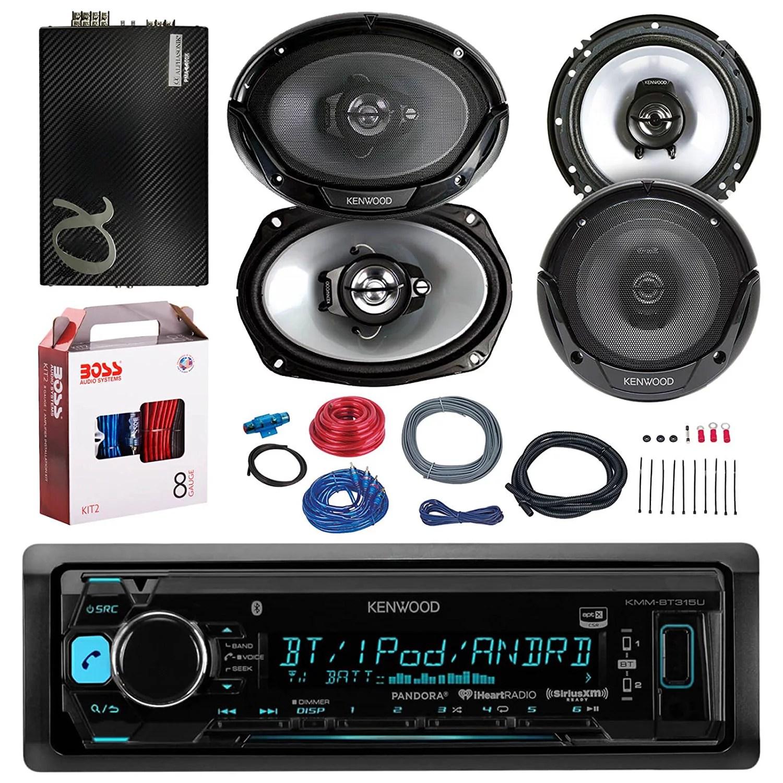 hight resolution of kenwood kmmbt318u bluetooth car radio stereo receiver bundle combo with 2x 300w 6 5 2 way car audio speakers 2x 6x9 3 way stereo speaker 2400 watt