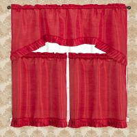 Bermuda Ruffle Kitchen Curtain Red Swag Valance 55x36 Two ...