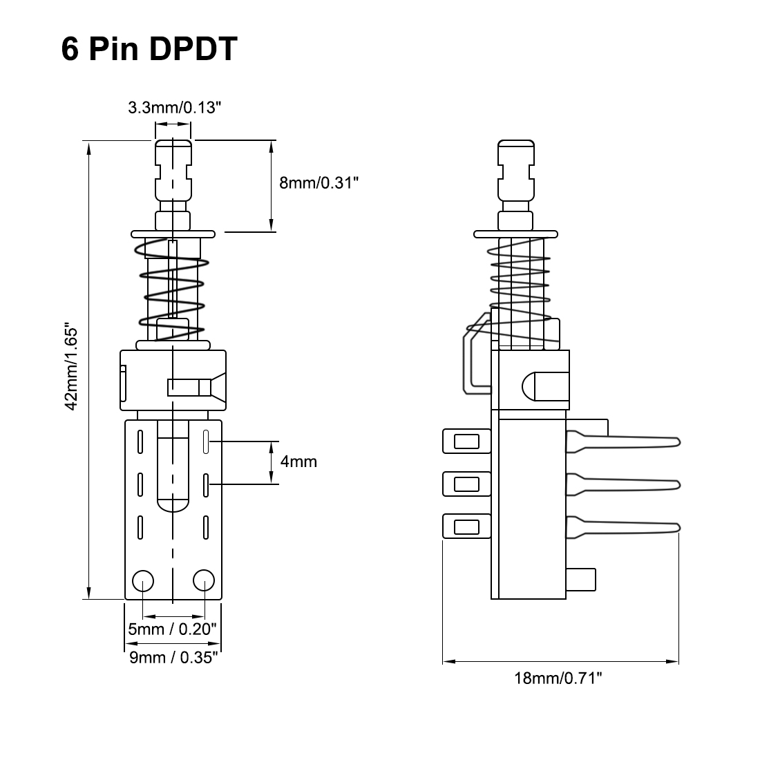 hight resolution of momentary push button switch dpdt 2 pole 6 pin 1 position 2pcs