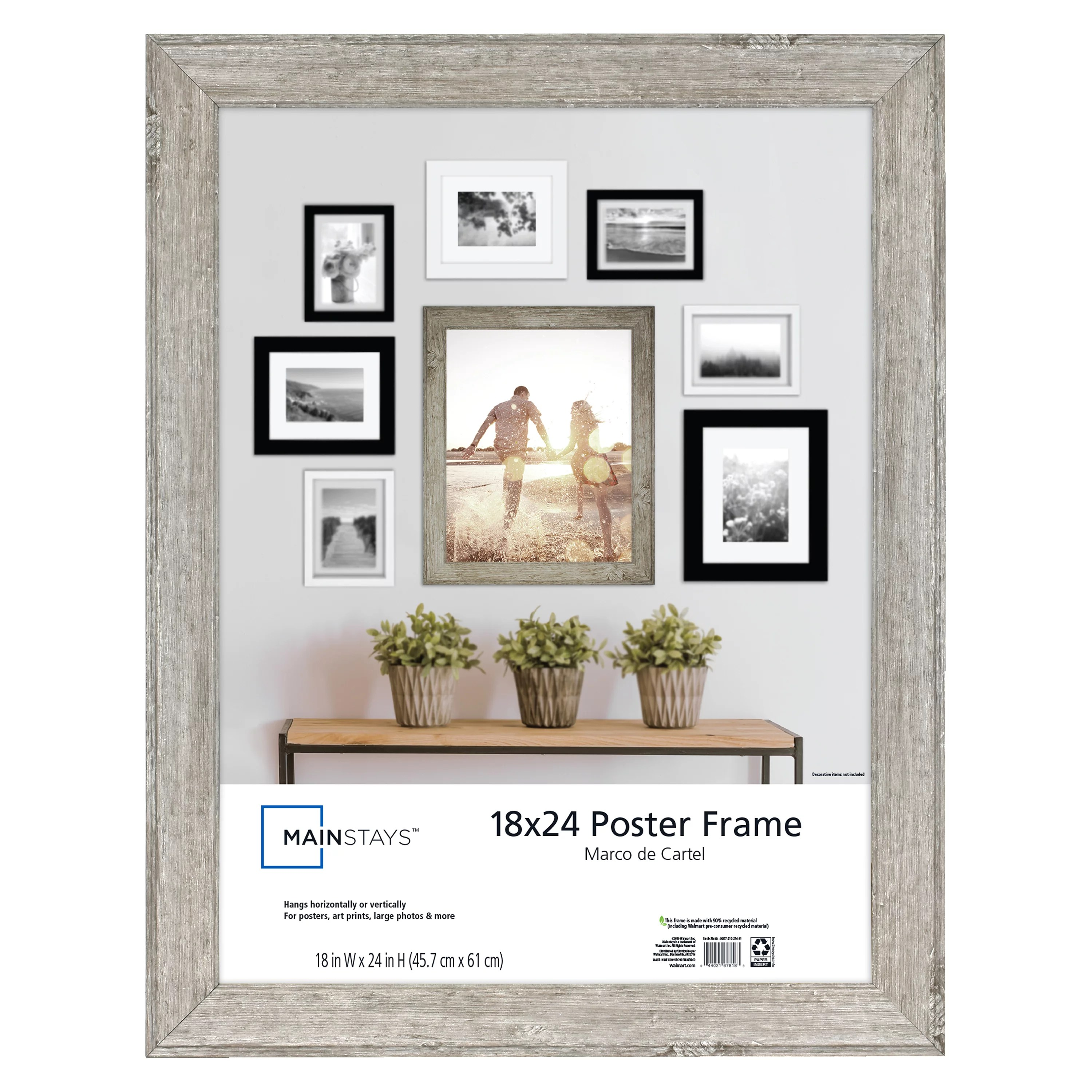 mainstays 18x24 rustic woodgrain poster and picture frame