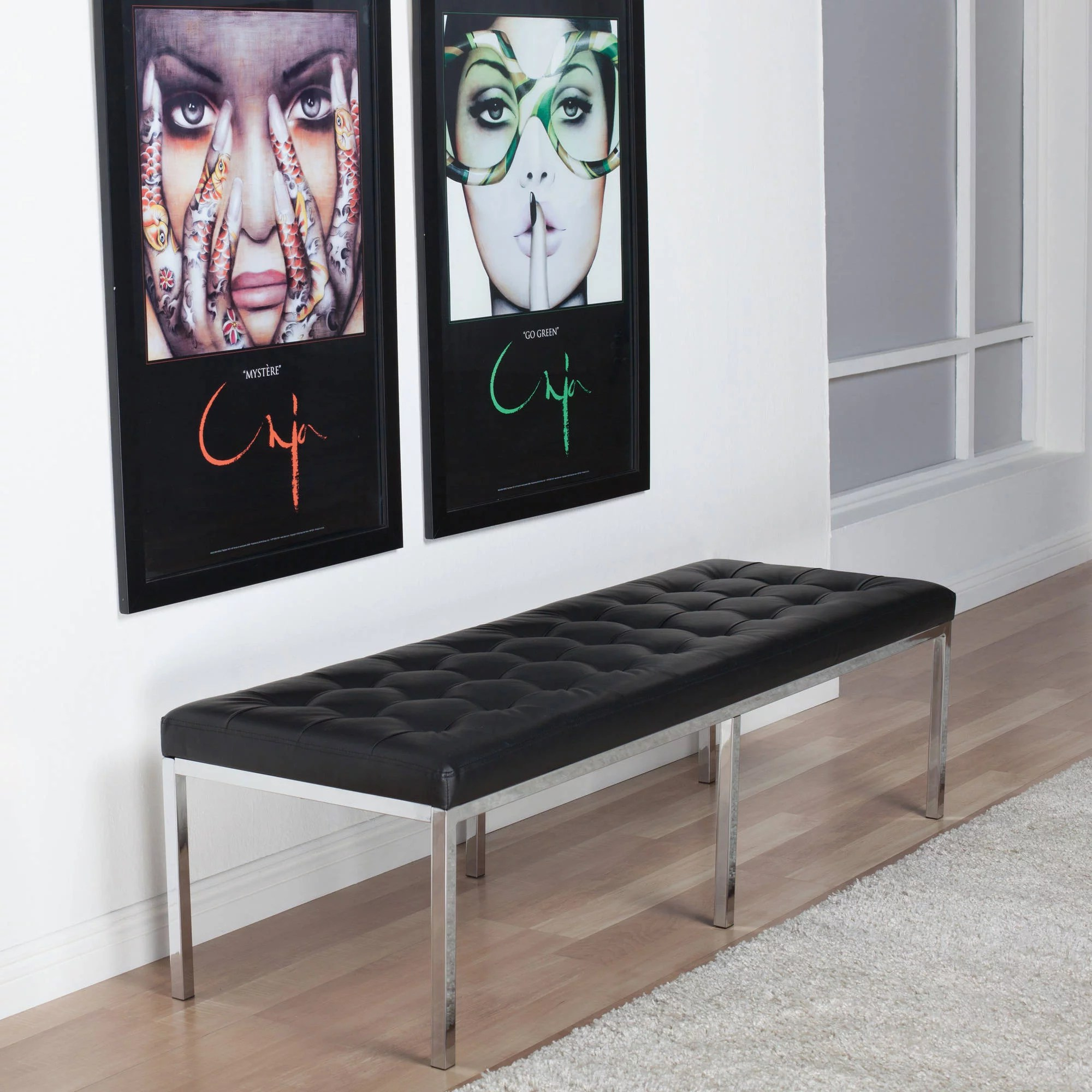 studio designs home 60 wide lintel tufted bench ottoman in black bonded leather and chrome metal