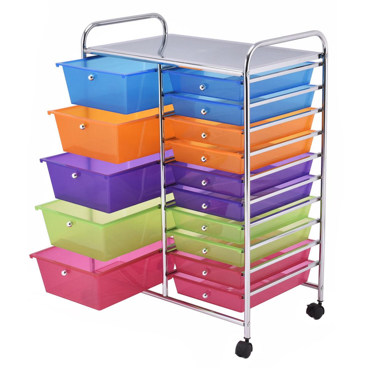 gymax chariot de rangement avec 15 tiroirs tour de rangement desserte a roulettes pour salle de bain maison bureau 63 x 37 x 87 cm