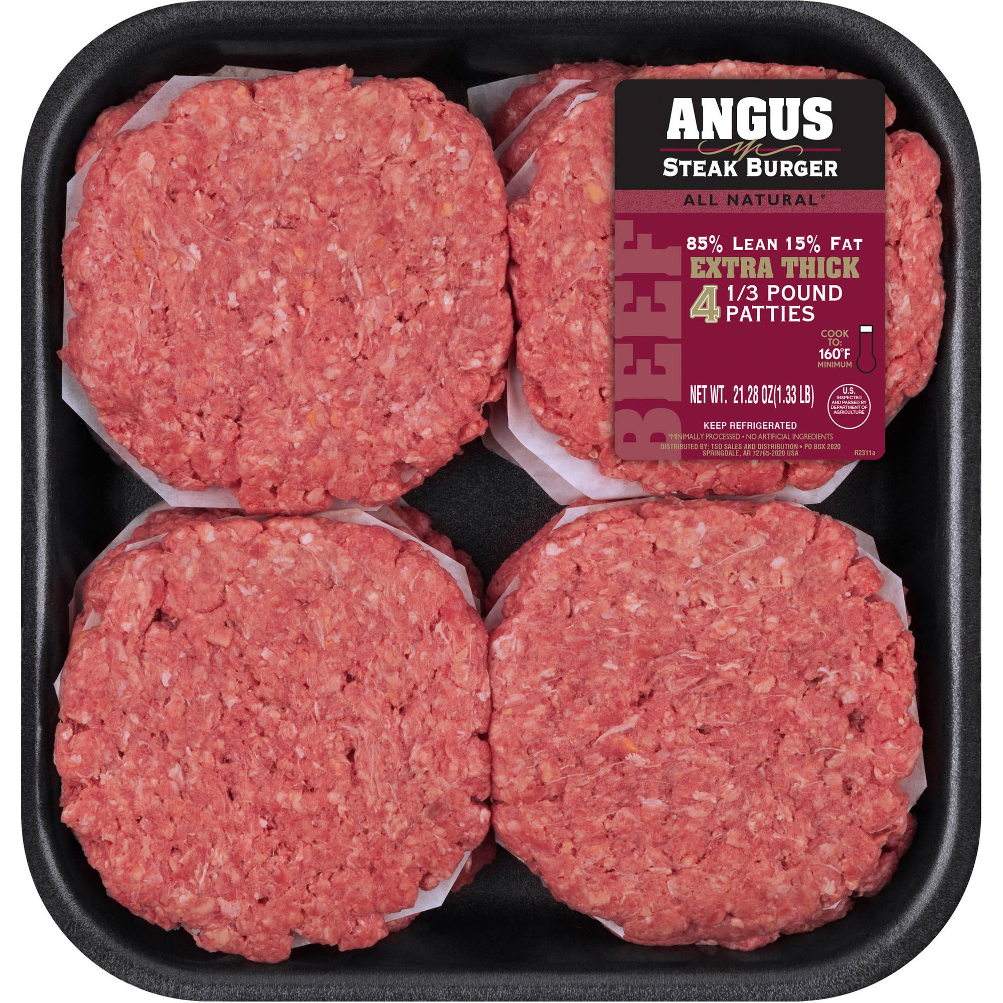 85 Lean15 Fat Angus Steak Patties 12 ct 4 Lbs