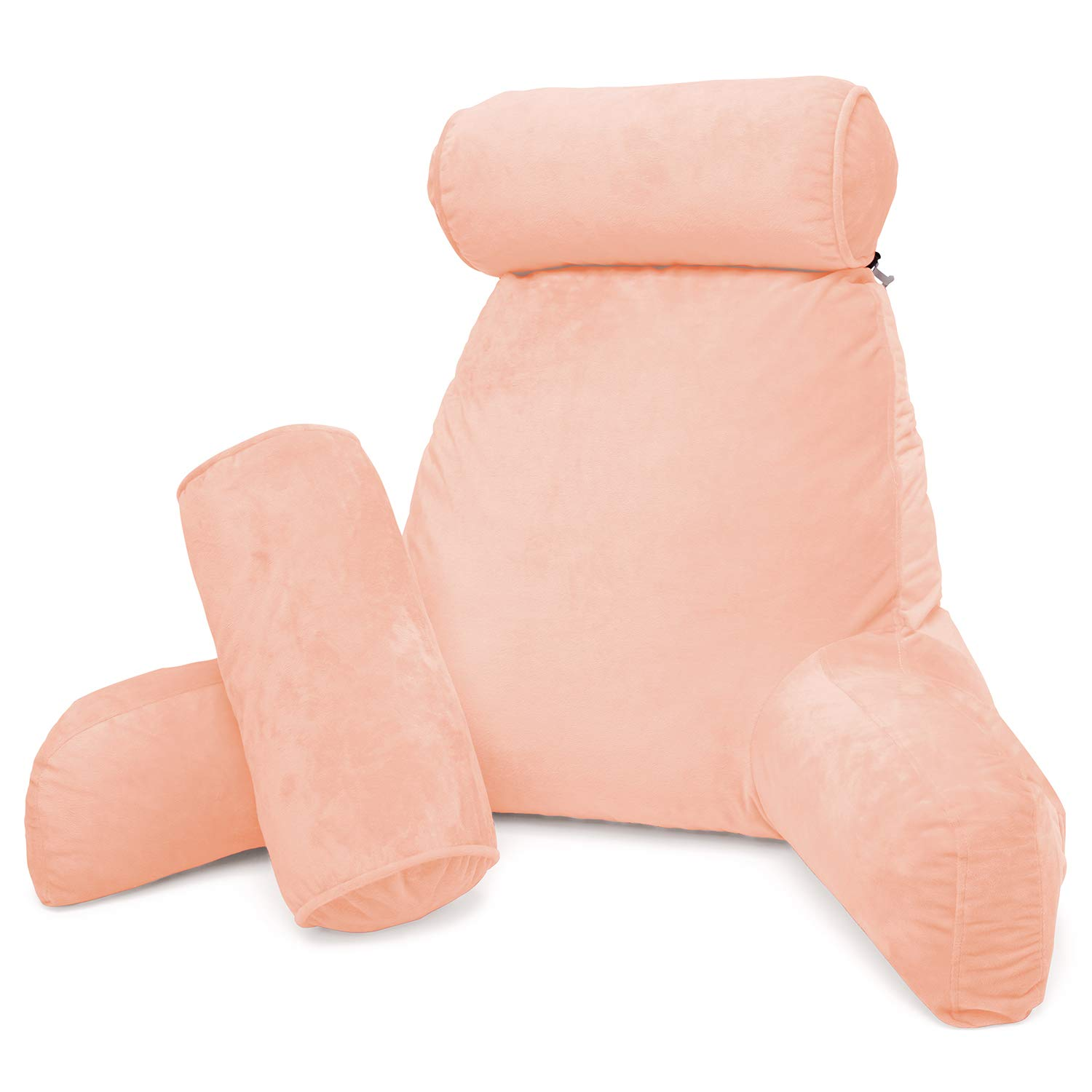 clara clark bed rest reading pillow with arms and pockets premium shredded memory foam tv pillow detachable neck roll lumbar support pillow
