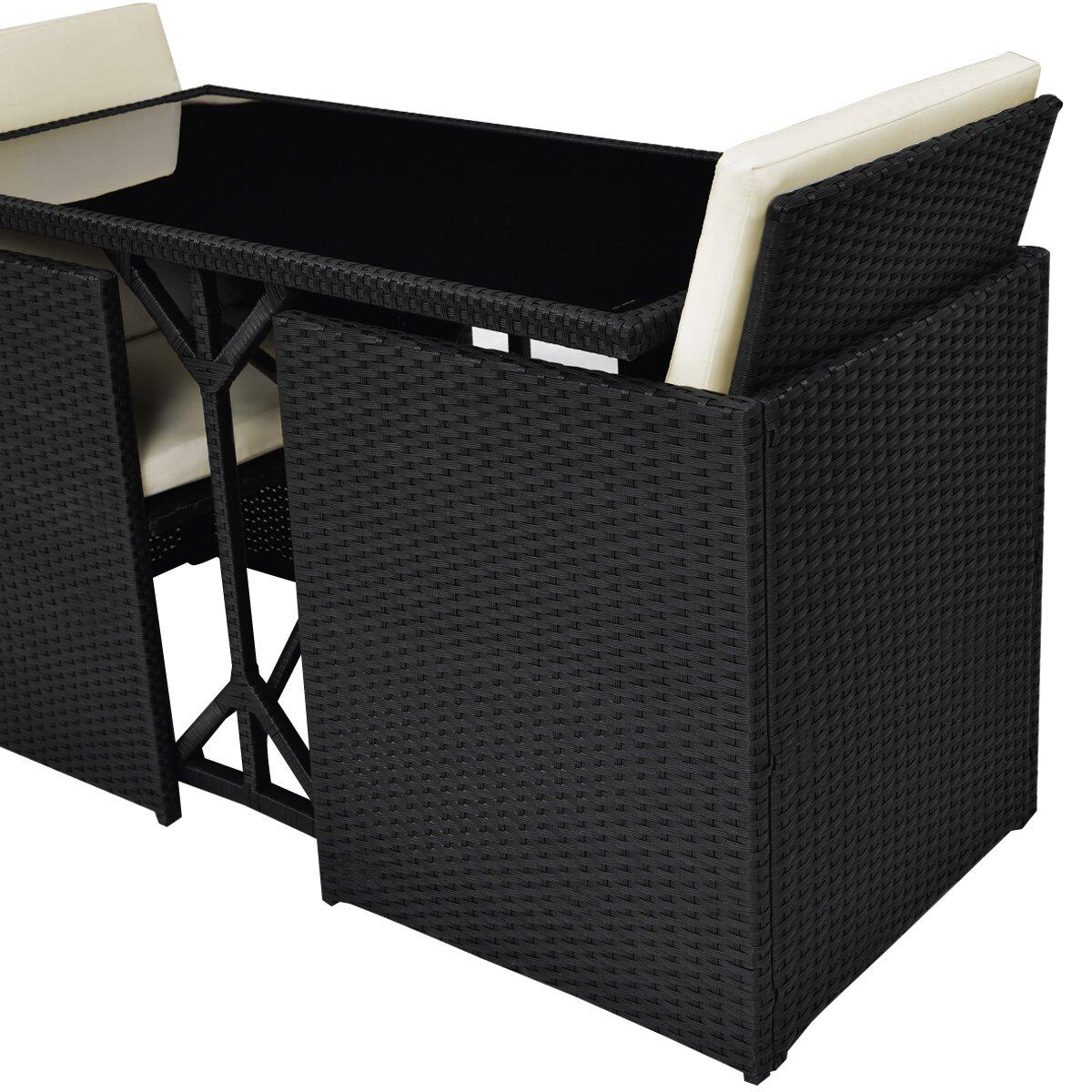 gymax 3 pc black rattan furniture