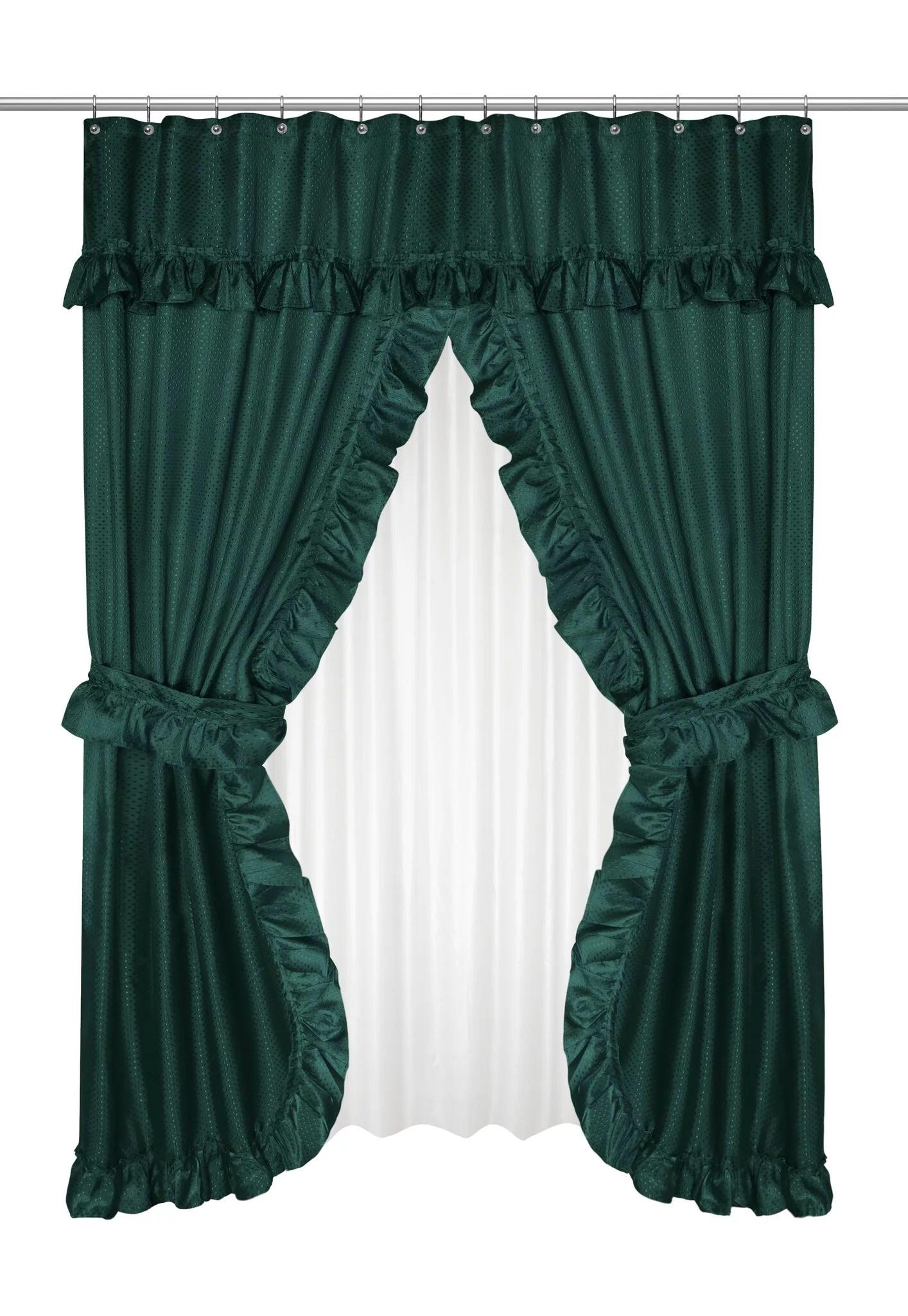 goodgram lauren complete 5 piece attached shower curtain valance set hunter green