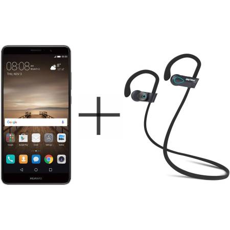 HUAWEI Mate 9 MHA-L29 Unlocked GSM Smartphone and SHARKK Flex 20 Wireless Bluetooth Waterproof Headphones with Mic, Gray (Value Bundle)