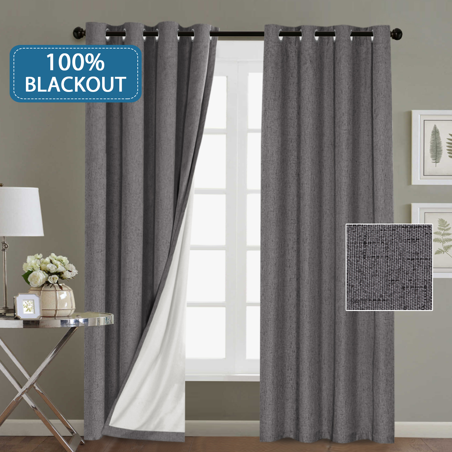 window treatment grommet linen like primitive 100 blackout curtains waterproof thermal insulated grey curtains with white backing 2 panels set 52