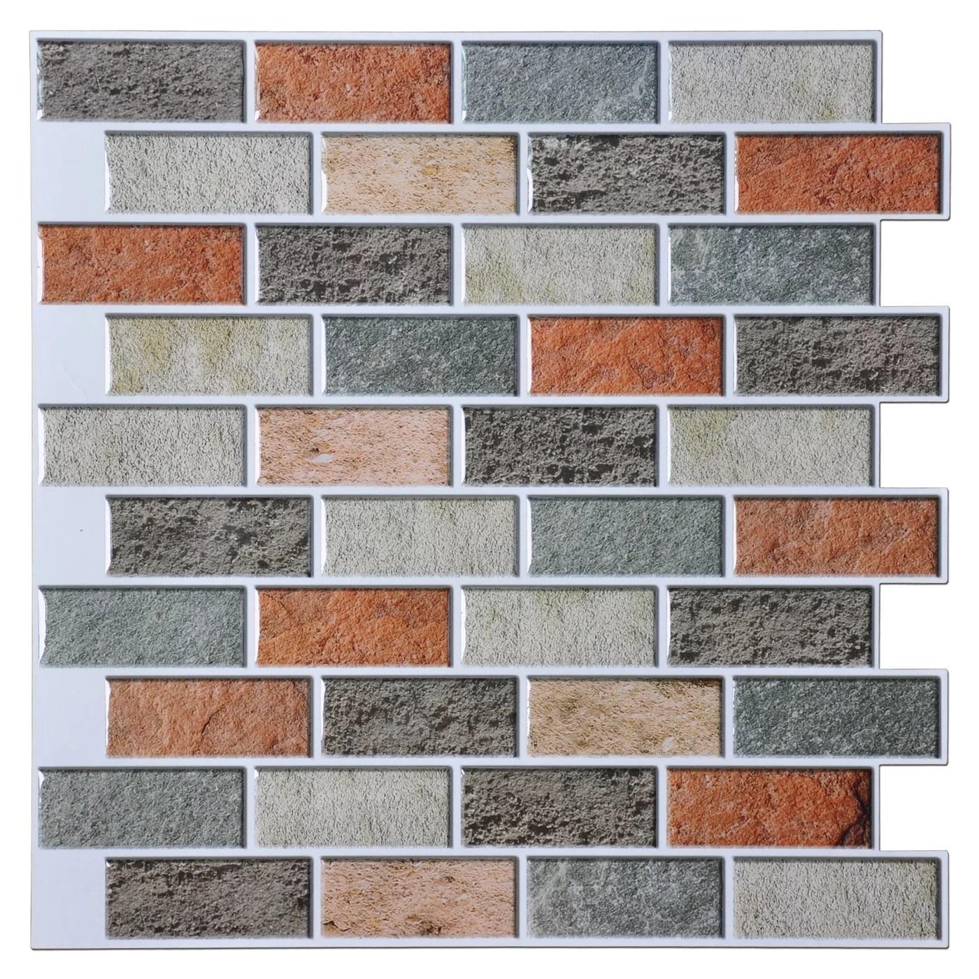 art3d peel and stick kitchen backsplash self adhesive subway tile 12 x12 faux stone mosaic 10 pack walmart com