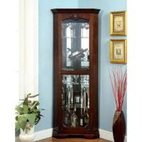 Furniture of America Jora Traditional Walnut Corner Curio ...