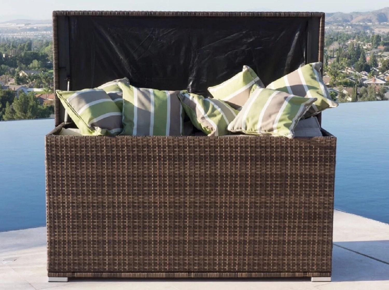 anita outdoor patio storage box garden bench cushion steel pe rattan deck box brown