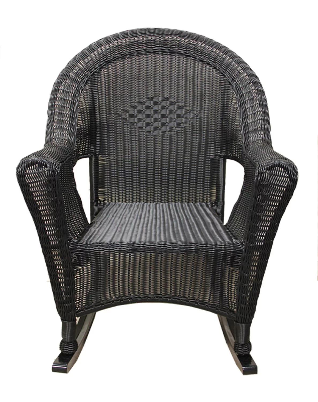 Black Resin Wicker Rocking Chair Patio Furniture  Walmartcom
