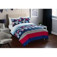 Boys Teens Comforter Set Sheet Set Red Navy White Star ...