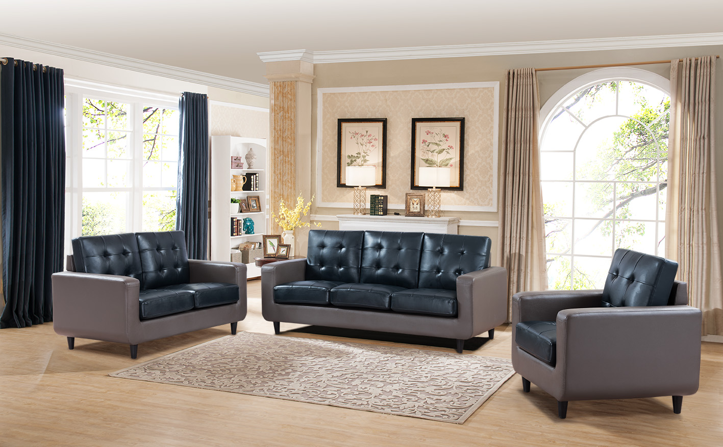 beautiful living room furniture set bedroom and deals modern dual tone grey blue color tufted back couch 3pcs sofa loveseat chair plush cushion walmart com