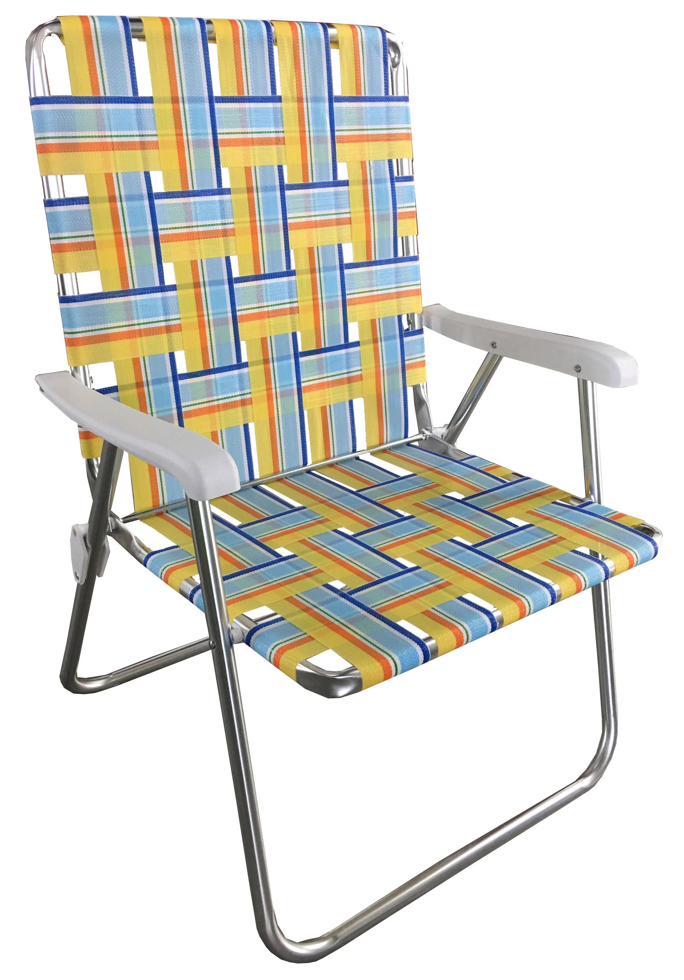 mainstays aluminum folding web chair yellow