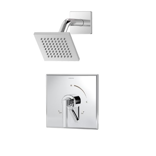duro single handle square shower faucet trim with volume control lever in chrome valve not included