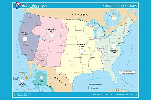 If you board a plane in new york at 3 p.m. Usa Oficial Standard Time Zone Map Poster 24x36 Educational User Friendly Walmart Com