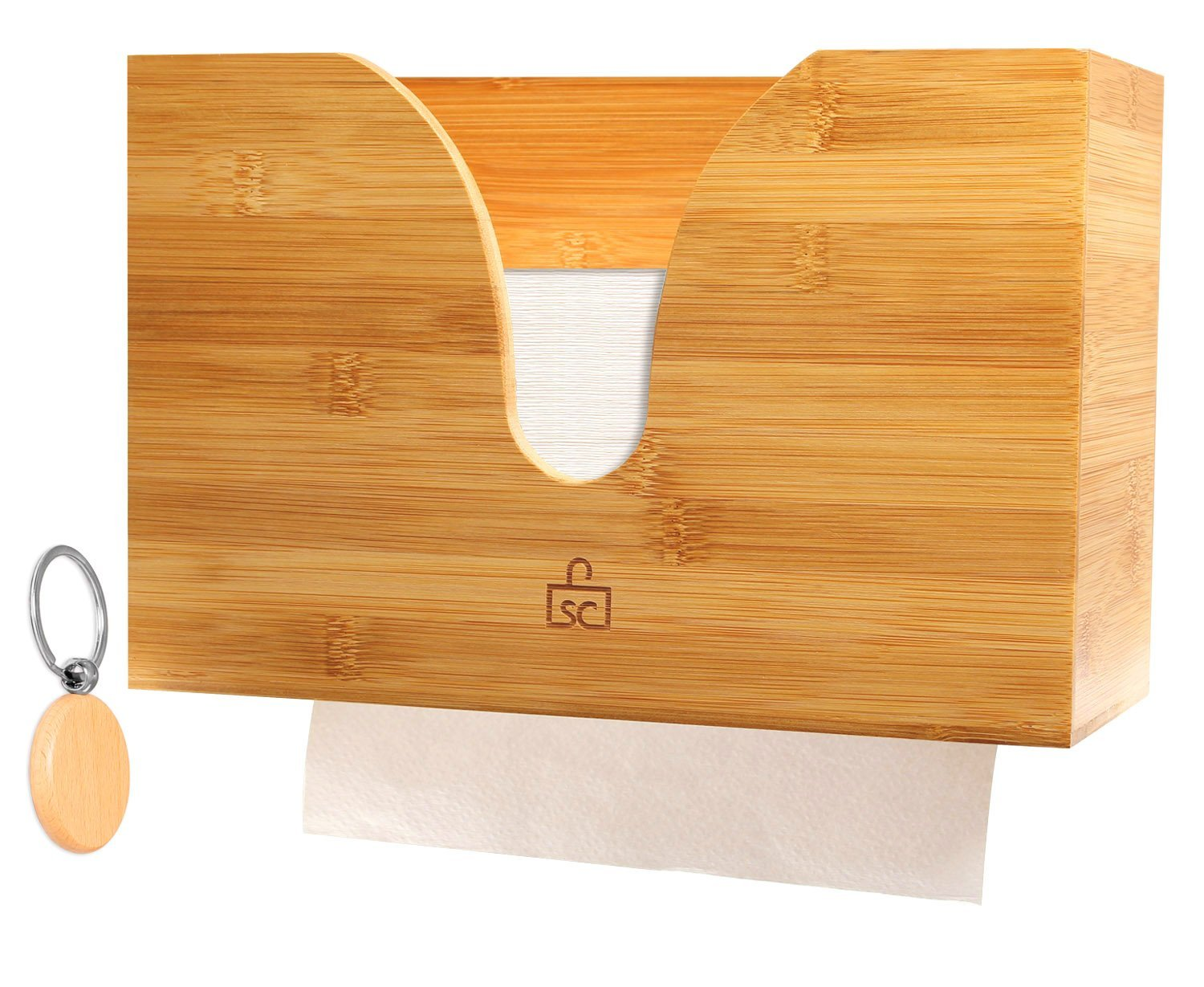 Bamboo Paper Towel Dispenser For use in Kitchen  Bathroom