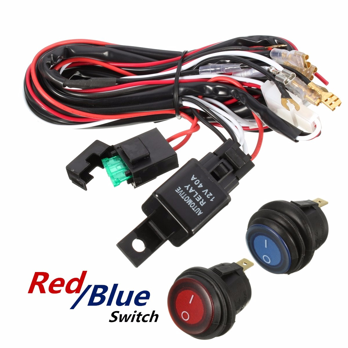 hight resolution of 40 amp off road atv led light bar on off switch wiring harness relay kit walmart com