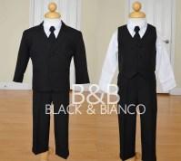 Little Boys Black Suit Complete Outfit with Tie - Walmart.com