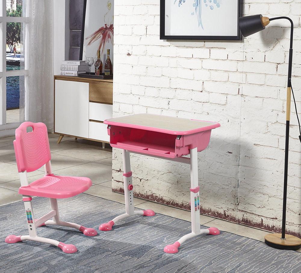 study desk and chair white computer zimtown adjustable children s set child kids table pink