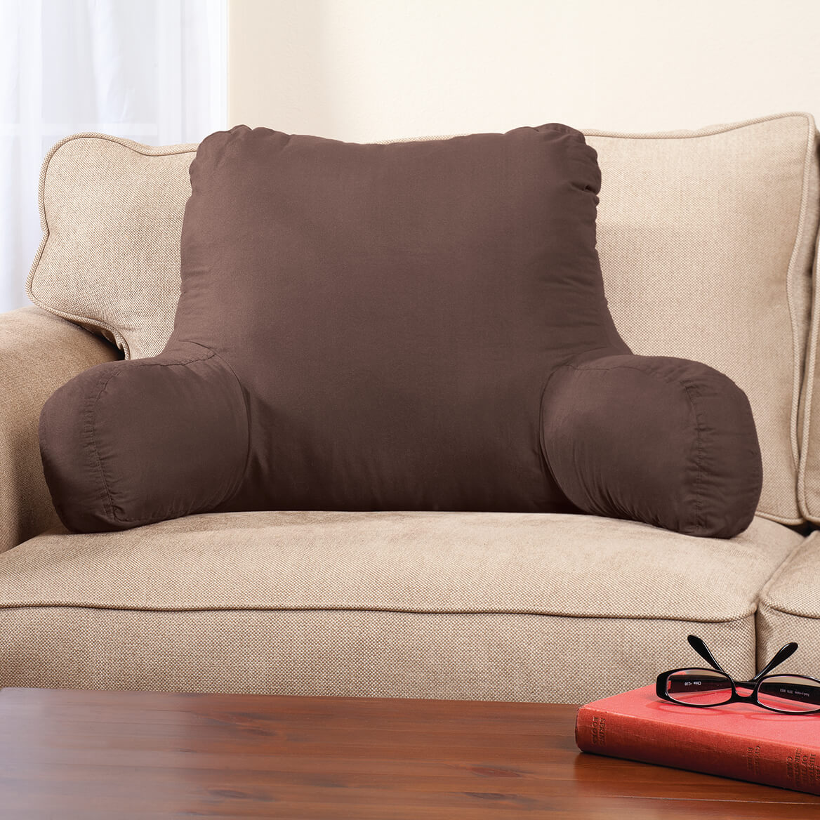 miles kimball backrest pillow with firm support arms 20 x 31 x 14 faux suede polyester brown fabric with dense foam interior for proper back