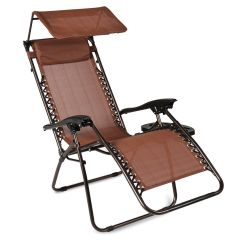 Leanback Lounger Chairs Patio Chair Glides Round Ghp Brown 46 Lx26 Wx48 H Portable Zero Gravity Reclining Lounge With Canopy Walmart Com