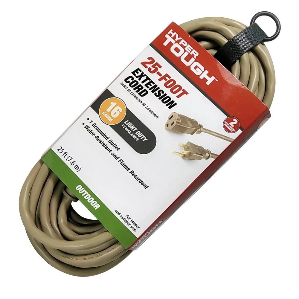Hyper Tough 25ft 16awg 3 Prong Tan Single Outlet Outdoor Extension Cord Walmart Com Walmart Com