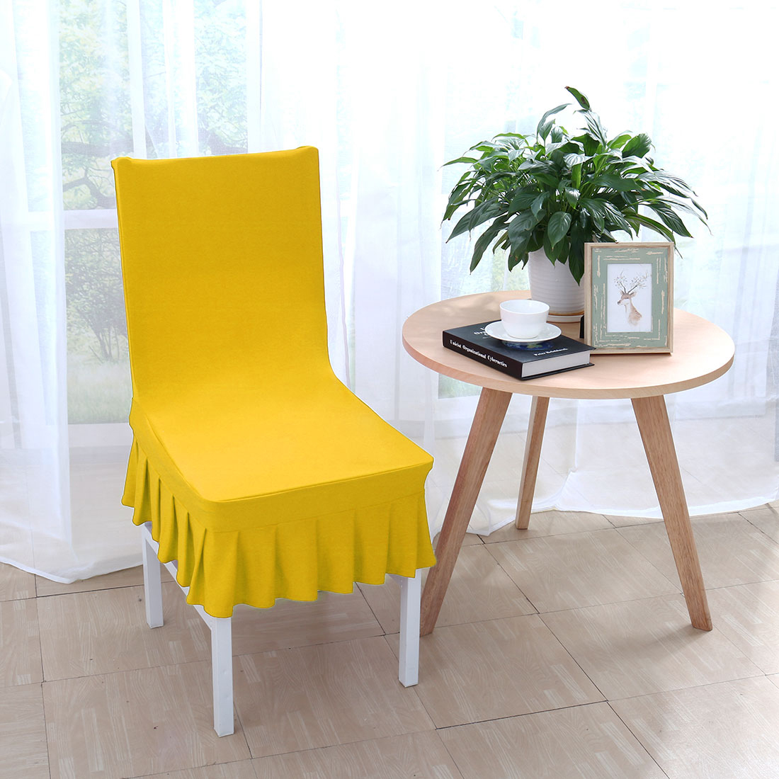 yellow spandex chair sashes leg sliders for carpet stretchy ruffled skirt short dining room